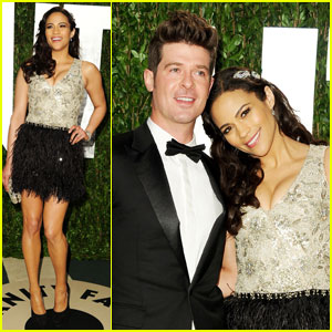 Paula Patton & Robin Thicke - Vanity Fair Oscar Party
