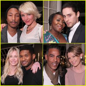 Cameron Diaz & Jared Leto Help Target Toast Pharrell Williams