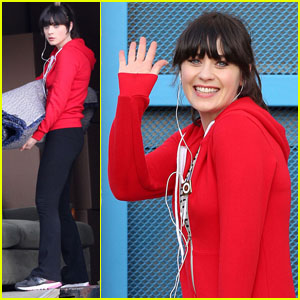 Zooey Deschanel Waves Hello
