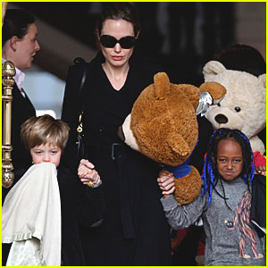 Angelina Jolie, Zahara & Shiloh Check Out of Amsterdam