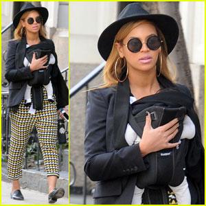 Beyonce Walks With Baby Blue & Mom Tina