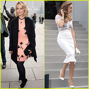 Dianna Agron & Sarah Jessica Parker: Louis Vuitton at Paris Fashion Week!