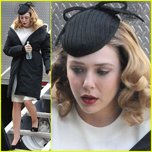 Elizabeth Olsen: Pillbox Hat on 'Darlings' Set!