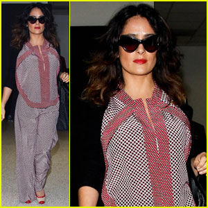 Salma Hayek Sports Silk Pajamas at LAX?