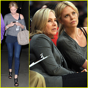 Charlize Theron: Lakers Game with Mom!