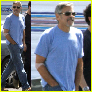 George Clooney: Scruffy Beard On Set!