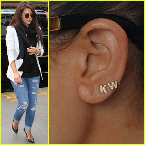 Kim Kardashian Wears Kanye West Initials Earrings