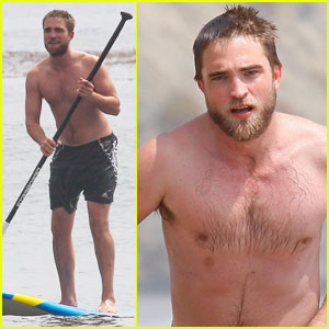 Robert Pattinson: Shirtless Paddleboarding!