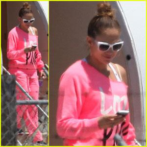 Jennifer Lopez: Hot Pink Private Plane Arrival