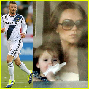 Victoria Beckham & Harper Cheer On Dad David