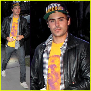 Zac Efron: Kobe Bryant T-Shirt at Lakers Game!