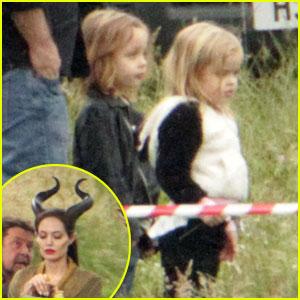 Angelina Jolie: Twins Visit 'Maleficent' Set!