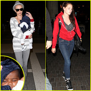 Kristen Stewart, Charlize Theron, & Baby Jackson Leave Los Angeles