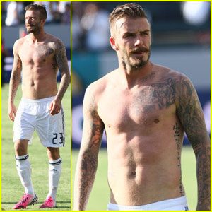 David Beckham: Shirtless at Galaxy Game!