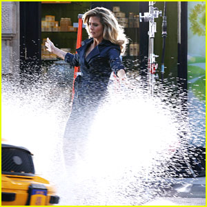 Heidi Klum: Splashed By A Taxi While Filming A Hair Spray Ad
