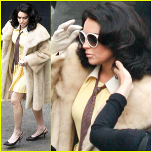 Lindsay Lohan: Fur Coat on 'Liz & Dick' Set