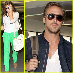 Eva Mendes &#038; Ryan Gosling: Going Green at the Airport!