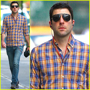 Zachary Quinto Walks in the West Village