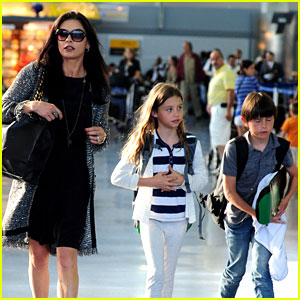 Catherine Zeta-Jones: New York Arrival with Carys & Dylan!