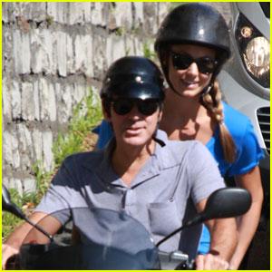 George Clooney & Stacy Keibler: Switzerland Scooter Ride!