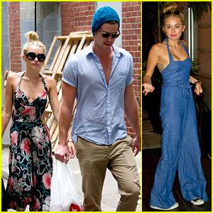 Miley Cyrus: Denim Jumpsuit with Liam Hemsworth!
