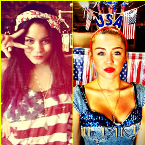 Vanessa Hudgens & Miley Cyrus: Patriotic Pair!