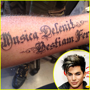 Adam Lambert Debuts New Latin Arm Tattoo!