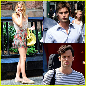 Blake Lively: 'Gossip Girl' Set with Chace & Penn!
