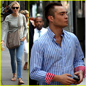 Ed Westwick & Kelly Rutherford: 'Gossip Girl' Set!