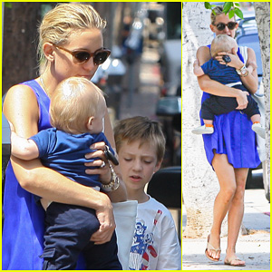 Kate Hudson: Brentwood with Ryder & Baby Bingham!