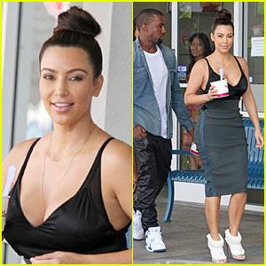 Kim Kardashian & Kanye West:  Fro-yo Fun!