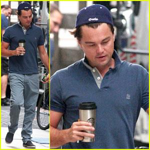 Leonardo DiCaprio Hides Under Umbrella on 'Wolf' Set