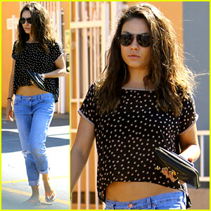 Mila Kunis Bares Belly After Workout