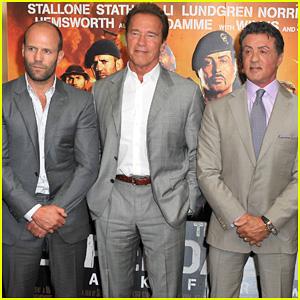 Schwarzenegger, Stallone, & Statham: 'Expendables 2' London Photo Call!