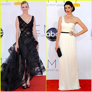 January Jones & Jessica Pare - Emmys 2012 Red Carpet