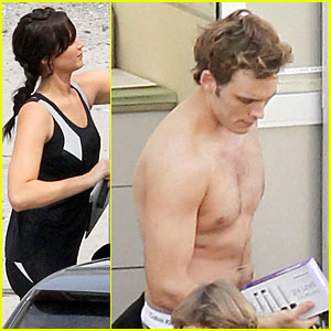 Jennifer Lawrence &#038; Shirtless Sam Claflin: 'Catching Fire' Set!