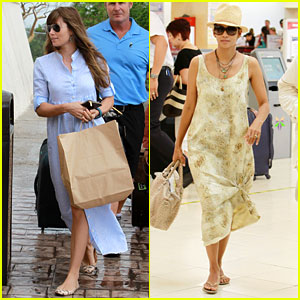 Jessica Biel & Halle Berry Head Home from Cabo Wedding