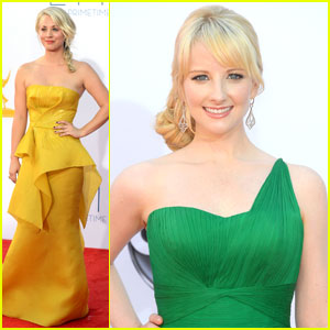 Kaley Cuoco & Melissa Rauch - Emmys 2012 Red Carpet