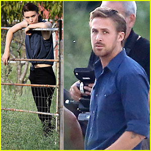 Ryan Gosling: Rock Throwing on 'Malick' Set!
