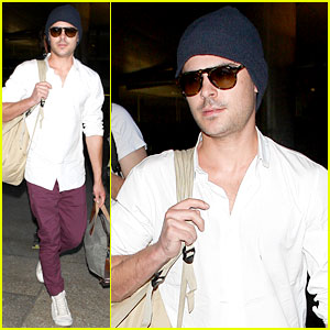 Zac Efron Arrives Home from Venice Film Festival