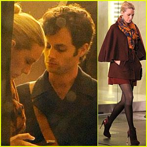 Blake Lively: 'Gossip Girl' Set with Penn Badgley!