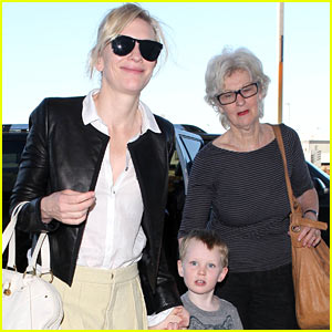 Cate Blanchett: Family Flight with Son Ignatius & Mother June!