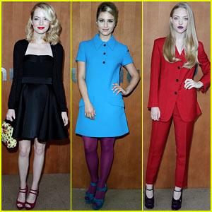 Emma Stone & Dianna Agron: Miu Miu Fashion Show!