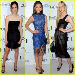 Emma Watson & Elle Fanning - Elle Women in Hollywood 2012