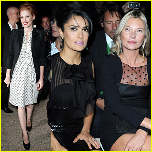 Jessica Chastain & Salma Hayek: Saint Laurent Fashion Show!