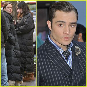 Leighton Meester & Ed Westwick: Chilly 'Gossip Girl' Set Day!