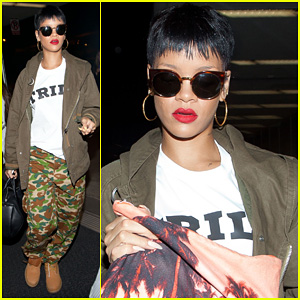 Rihanna: Army Chic at LAX!