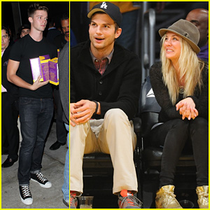 Ashton Kutcher: Lakers Game with Kaley Cuoco!