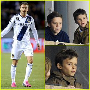 David Beckham's Boys Cheer Him on at Galaxy Soccer Game!