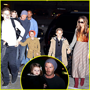 David & Victoria Beckham Depart LAX with the Kids